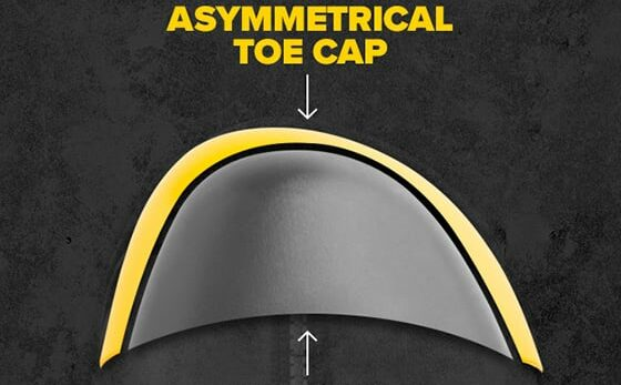 asymmetrical or the oblique safety toes