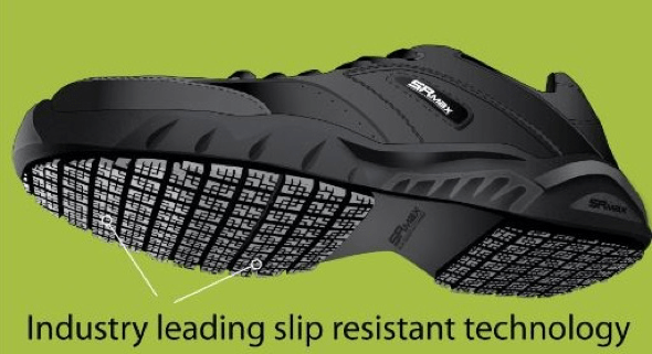 slip-resistant shoe is softer on the outside making them effectively grip the slick floor