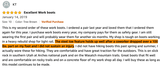 steel toe boots safety