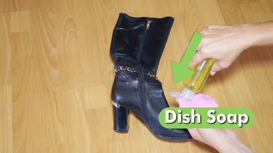 DISH SOAP to clean boots