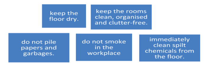 Ensure the following rules in your workplace