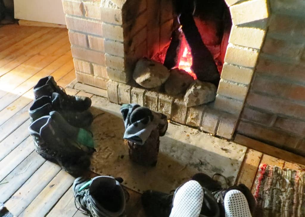 dry our boots by a fire place and under constant sun