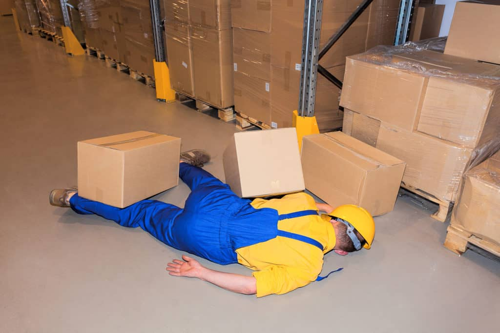 Warehouse work load falling protection