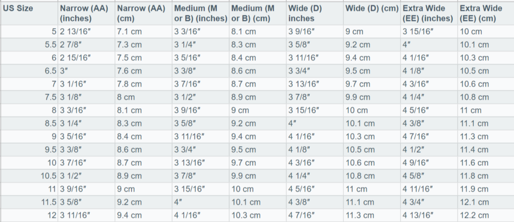 Women Length and Width Size Chart