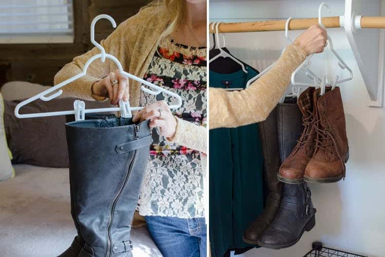 Hang the Boots with Boot Clips or Binder Clips