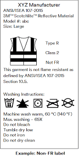 Care labeling, instructions and marking of Safety Vest