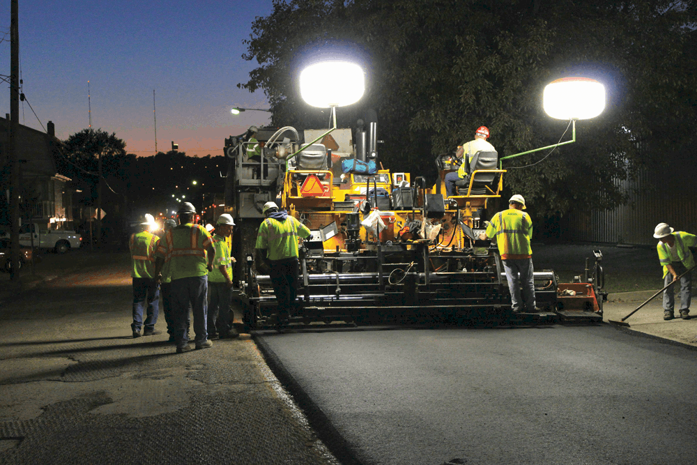 Yellow Safety Vests at Night