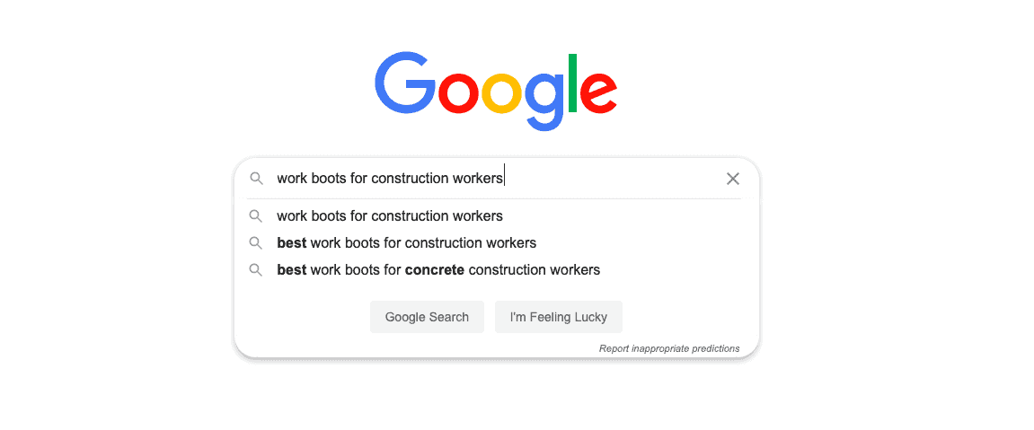 Work boot search google