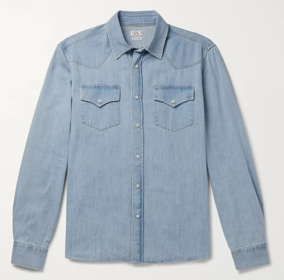 Brunello Cucinelli Western style Chambray Denim Work Shirt